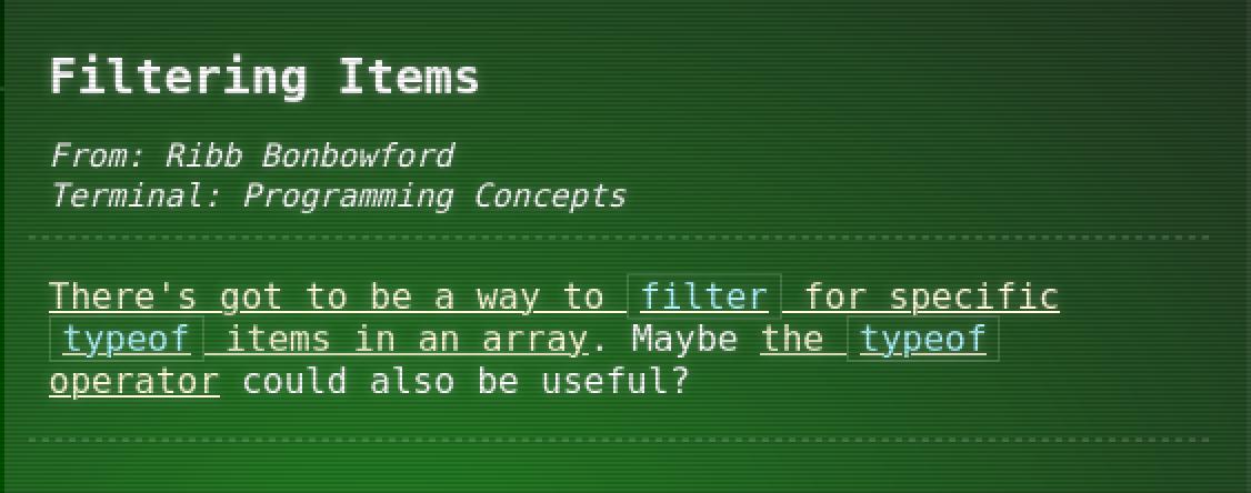Filtering Items
