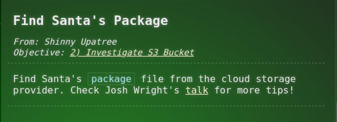 Find Santa's Package Hint 1