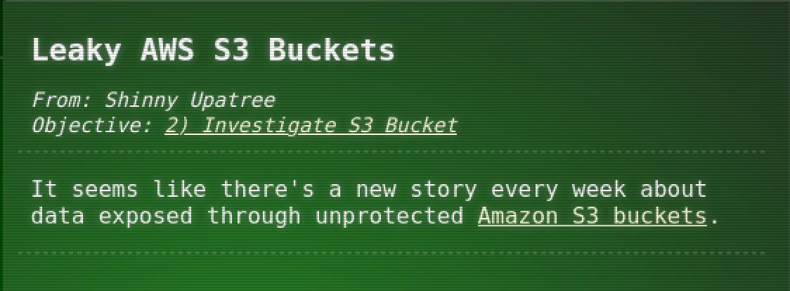 Leaky AWS S3 Bucket Hint 2