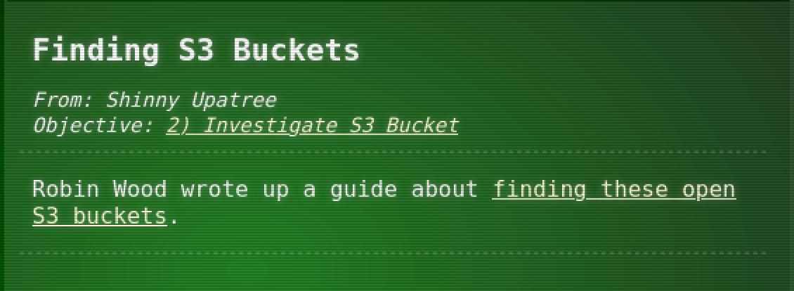 Finding S3 Buckets Hint 3